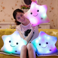 Colorful Body Pillow Star Pentagram Shape Pillow Glow LED Luminous Light Cushion Soft Relax Gift Smile