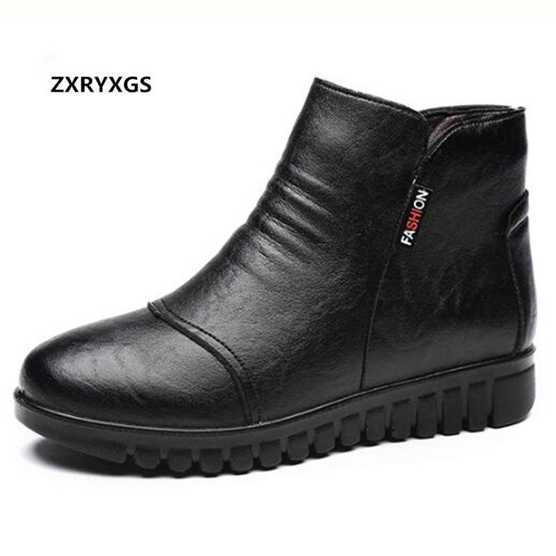 Zxryxgs Brand Boots 2018 New Winter Warm Middle Aged Women