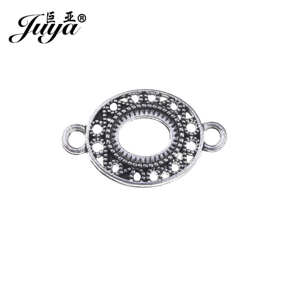 JUYA High Quality Cabochons Base Trays 10x8mm 20pcs Vintage Ancient Silver Filigree Cameo Blank Bezel Cabochon Connectors AD0208