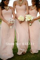 2016 Modern Sweetheart Ruched Floor Length Long Pink Bridesmaid Dresses Free Shipping