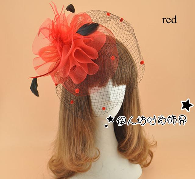 Multi - cor atacado chapéu Fascinator nupcial gota navio banquete aristocrático noiva cocar flor cocar Hairpin para o partido