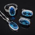 Céu Azul das mulheres Zirconia Cúbico Zircão Branco Brincos Colar de Pingente de Conjuntos de Jóias de Prata Anéis Frete Grátis JS0452