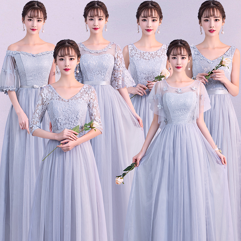 Light Grey   Bridesmaid     Dresses   A-line Sweetheart Women Formal Wedding Party Gowns Floor-Length Party Prom   Dress   Brautjunfer Kleed