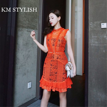 [NEW SALE] 2017 Autumn Women Luxury Sleeveless Lace Fishtail Dress Orange red, Pink ,White color S,M,L