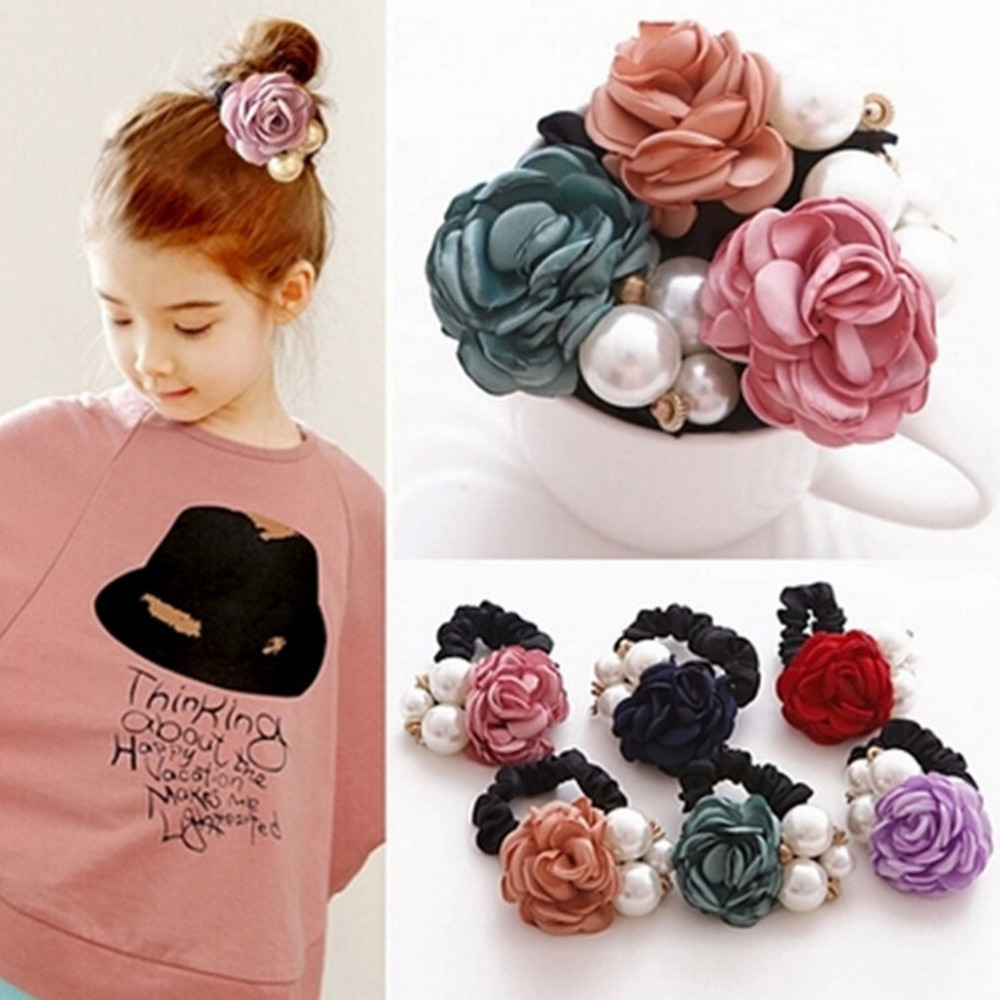 Alloy Elastic Hair Bands Ribbon Flowers Style Simulated Pearls Headband Decorating Girls Hair Accessories