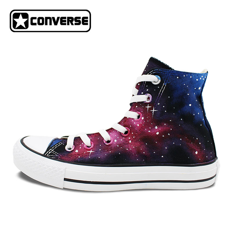 Unique Gifts Men Women Galaxy Converse Chuck Taylor Shoes Hand Painted High Top Canvas Sneakers Man Woman Custom Design Presents converse chuck taylor women men shoes anime tokyo ghouls custom design hand painted shoes high top white sneakers cosplay gifts