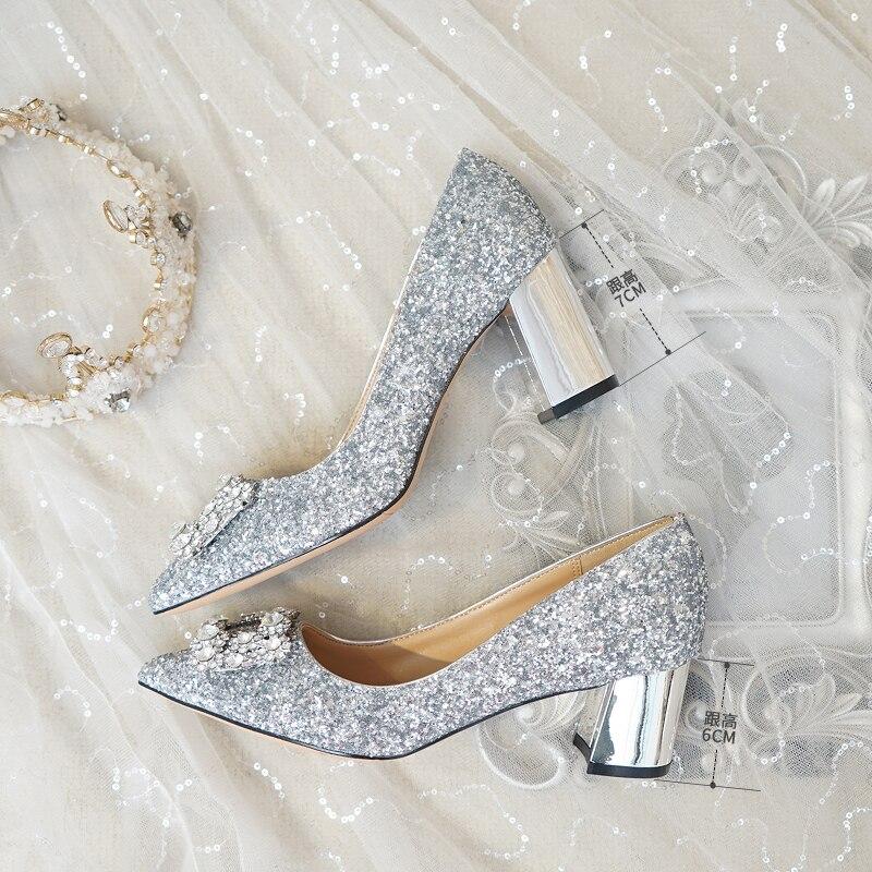 Zapatos de boda de tacón grueso zapatos de novia de cristal de mujer embarazada de lentejuelas plateadas brillantes damas de honor tacones altos cuadrados-in Zapatos de tacón de mujer from zapatos    3