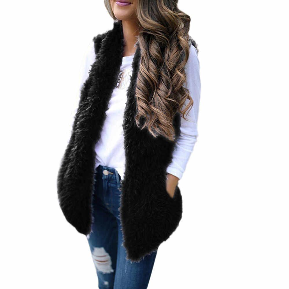 Mujeres chaleco chaqueta invierno 2018 largo falso piel sólido chaleco  ocasional más el tamaño Chamarra Cazadora 8e86c7db5689