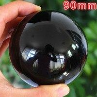 90mm Rare Natural Black Obsidian Sphere Large Crystal Ball Healing Stone HITM Quartz Crystal Balls Free to send crystal base