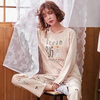 Pajamas Sets Women Soft Cotton Fashion Letter Print Women Long Sleeve Sleepwear Suit 2 piece Sexy Autumn Home Lounge Gift