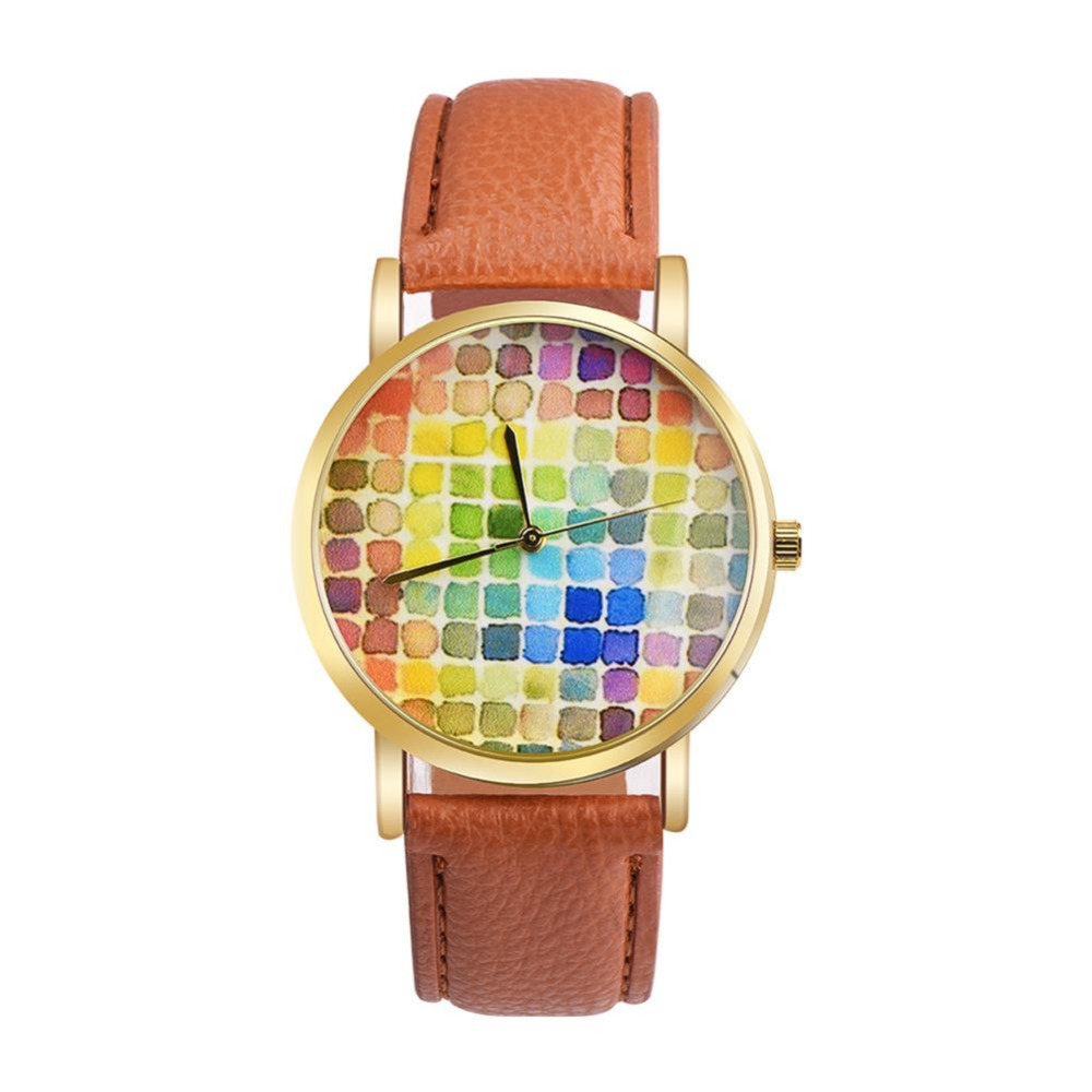 Leather Strap Watches for Women Colorful Boxes Round Dial Face High Quality Quartz Watch for Ladies Birthday gifts Hot Sale kaladia 8926 diamond quartz watch tiger pattern round dial leather strap for women
