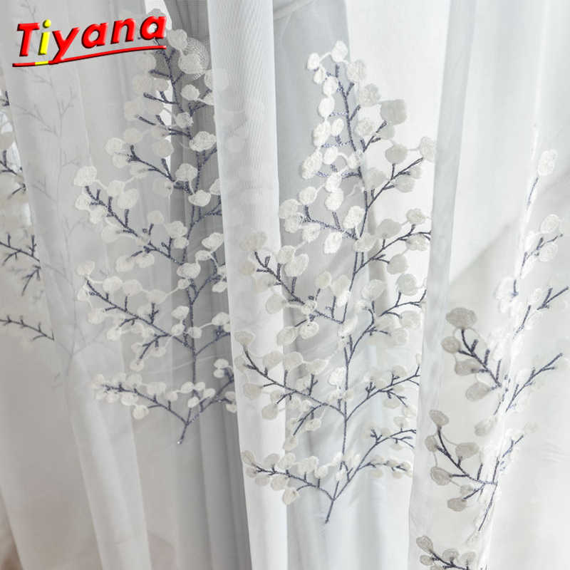 Grey White Curtains for living room Embroidered luxurious curtain for kitchen bedroom simple tulle sheer for window WP067 *30
