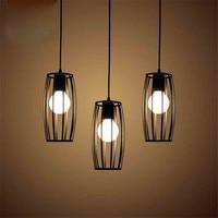 Wrought iron single head small chandelier three restaurant LED chandelier black cage waist drum lamp creative retro E27 lamps