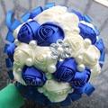 Luxury Ivory Royal Blue Wedding Bouquet Pearls Beaded Pretty Silk Rose Holding Flower Fake Bouquet for Bridal Accept Custom W270