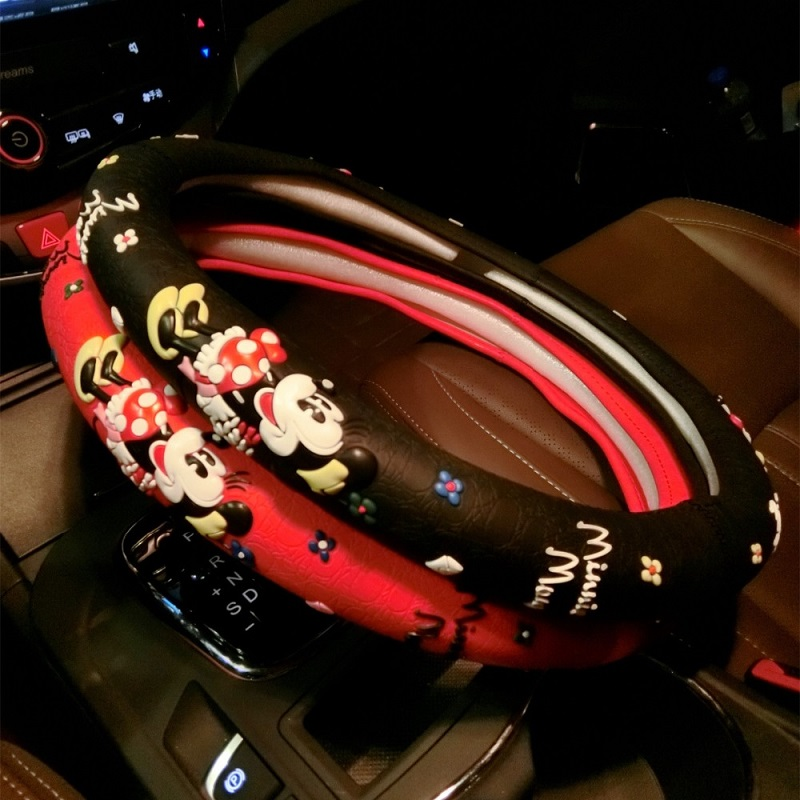 Mickey Mouse Printed <font><b>Car</b></font> Steeing-<font><b>Wheel</b></font> <font><b>Cover</b></font> Cartoon Cute Steering <font><b>Wheel</b></font> <font><b>Covers</b></font> Black Latex <font><b>Car</b></font> Interior Accessories For <font><b>Girls</b></font> image