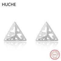 HUCHE Hot Selling 100% 925 Sterling Silver Hollow Triangle Stud Earrings For Women Girl Authentic Original Jewelry Gift ZB220
