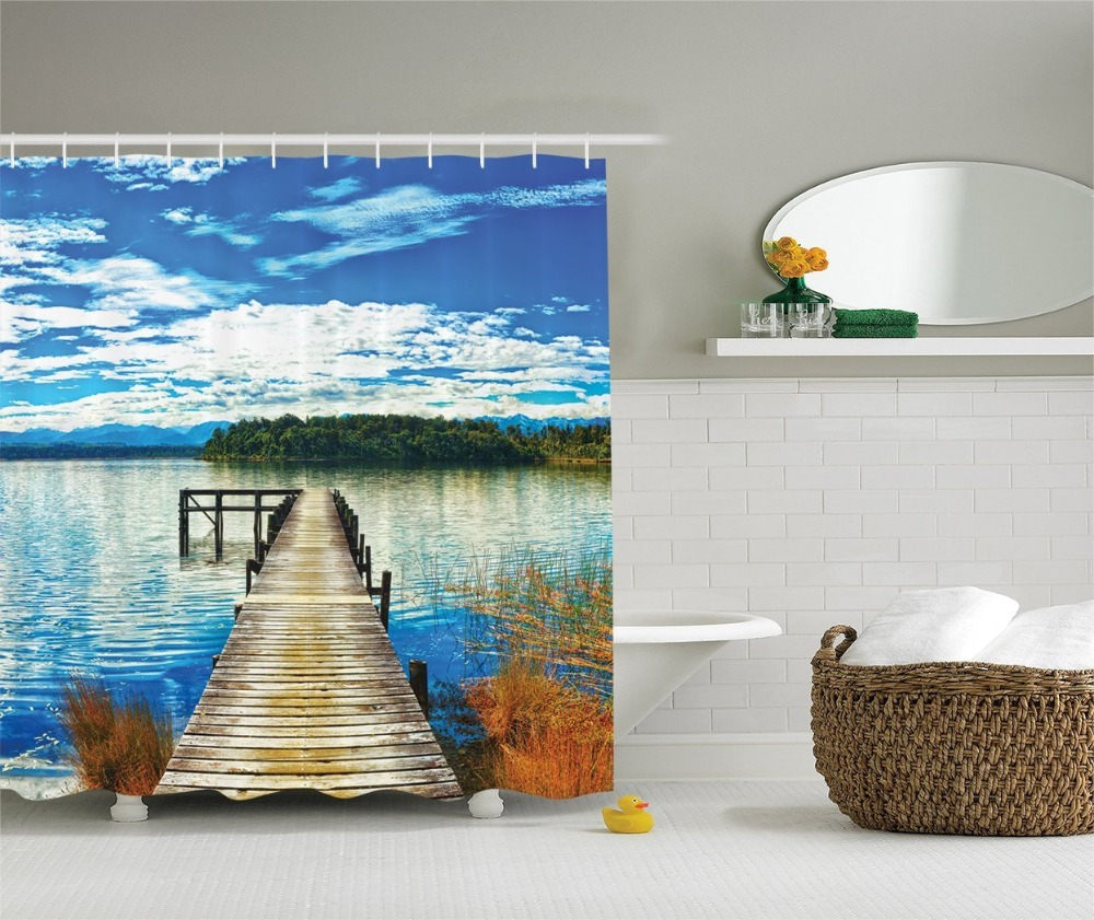 Shower Curtain Beautiful Wooden Bridge Lake Trees and Pier Printing Waterproof Mildewproof Polyester Fabric Bath Curtain Set
