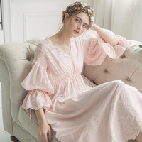 2017 New Summer White Cotton Nightgown Princess Nightdress Ladies Nightwear Women Long Sleepwear Sleeping Dress 2131