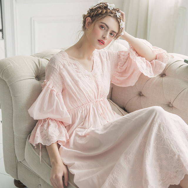 77718085307 2019 New Autumn White Cotton Nightgown Princess Nightdress Ladies Nightwear  Women Long Sleepwear Sleeping Dress 2131