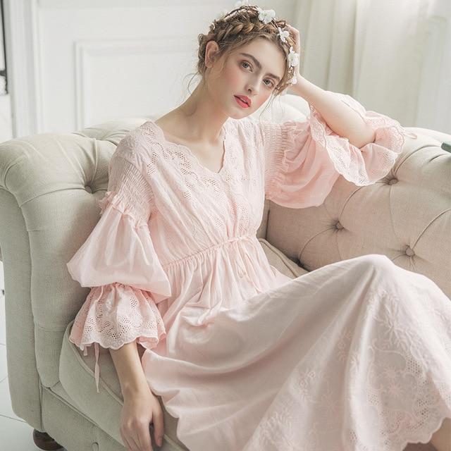 4f5b7fc261 2019 New Autumn White Cotton Nightgown Princess Nightdress Ladies Nightwear  Women Long Sleepwear Sleeping Dress 2131