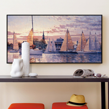 Sailing Harbor Landscape Painting Banners Canvas Art Print Poster Wall Paintings Modern Bedroom Home Decoration