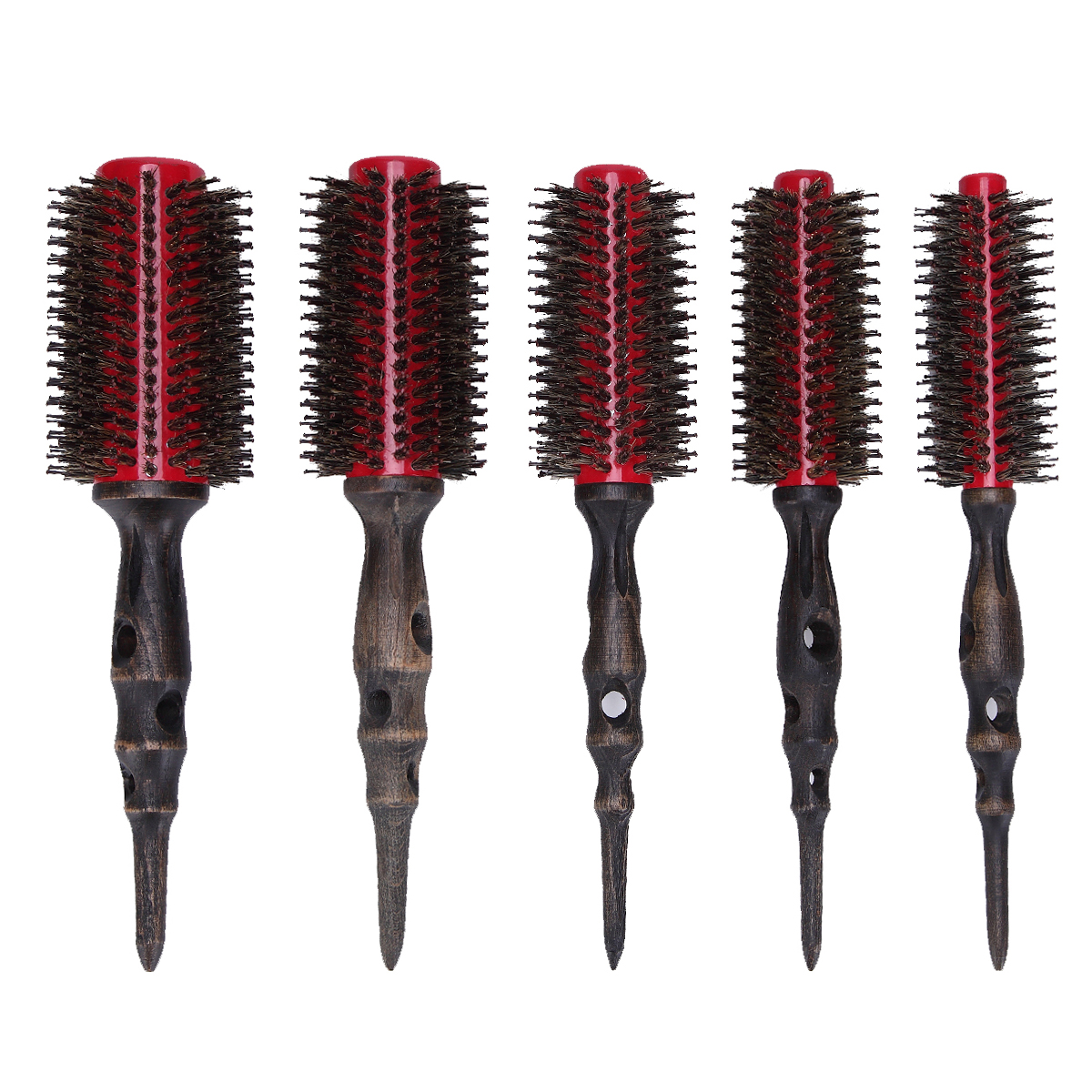 цены  5Pcs/set Professional Hair Round Brushes Retro Style Curler Combs Hairdressing Straight Quiff Roller Salon Styling Barber Tool