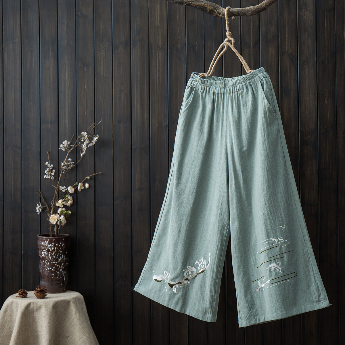 Original Spring Summer New National Wind Embroidery Cotton Linen Casual Casual Slim Straight Pants Trousers