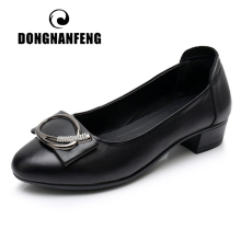 DONGNANFENG Women Ladies Mother Female Genuine Leather Shoes Flats Slip On Loafers Soft Bling Moccasins Plus Size 42 43 XYHH-783