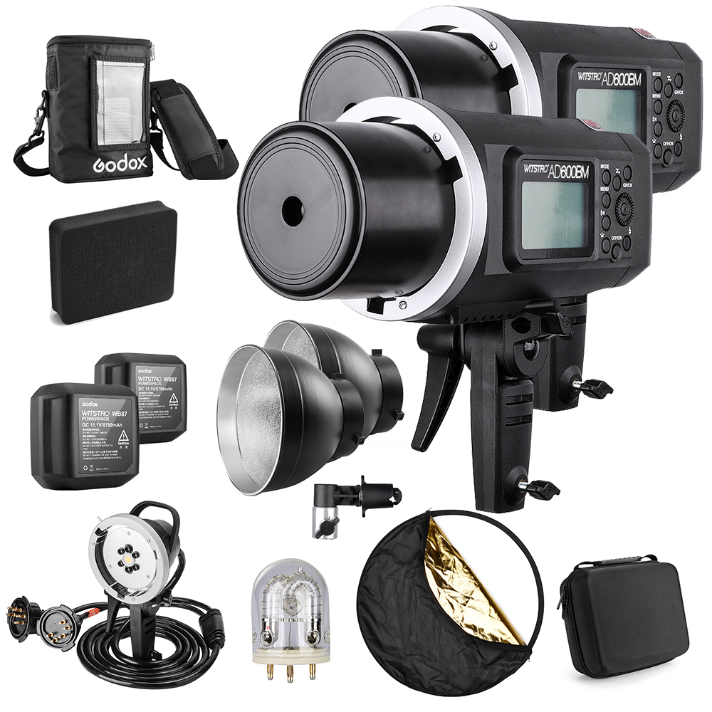 2Pc Godox AD600BM 600W GN87 1/8000 HSS Outdoor Flash Strobe Monolight+Godox 1200W Flash Tube+Portable Flash Head+8700mAh Battery