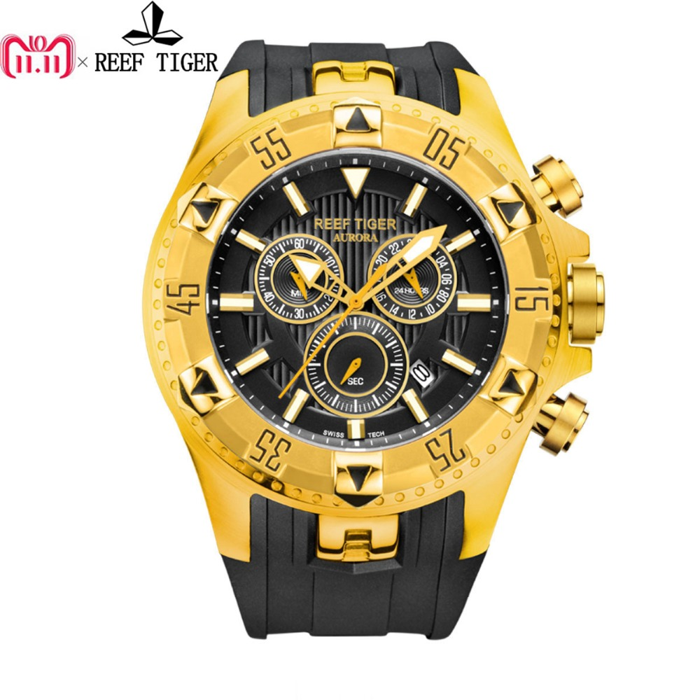 Reef Tiger/RT Sport Mens Watch with Chronograph Date Yellow Gold Rubber Strap Quartz Watches reloj hombre masculino RGA303 reef tiger rt designer sport watches for men rose gold quartz watch with chronograph and date reloj hombre 2018 rga3063