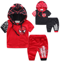 Boys clothes summer cotton hooded short-sleeved shorts sets Spider-man print fashion casual