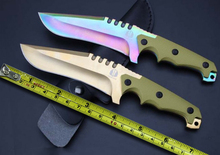 NEW 2 Options! Color / Golden Titanium Tactical Fixed Knives,9Cr18Mov Blade G10 Handle Survival Knife,Hunting Knife.