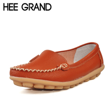 HEE GRAND Soft Women Leather Shoes Summer Casual Solid Slip-on Flat Shoes Woman Comfortable Loafers Flats Size Plus 35-41 XWD329