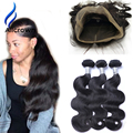 Alicrown 360 Lace Frontal With Bundle With Baby Hair 360 Closure And Bundles 2PC/3PC 7A Brazilian Body Wave With Frontal Closure