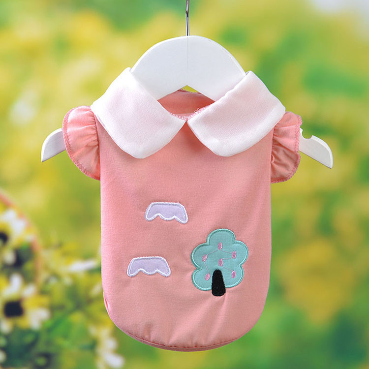 Fresh Cute Dog Coat Shirt For Small Dogs Puppy Pet Cotton T-shirt Vest Teddy Chihuahua Clothes in Spring and Summer Blue Yellow Pink Purple3
