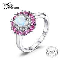 JewelryPalace Moda 0.96 ct Oluşturuldu Beyaz Opal Pembe Safir Küme Halo Yüzük Kadınlar Için Gerçek 925 Ayar Gümüş Güzel Takı
