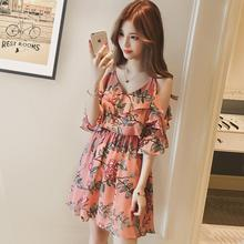 2019 New Women Summer Sling Dress Sexy V Collar Floral for Beach Vacation