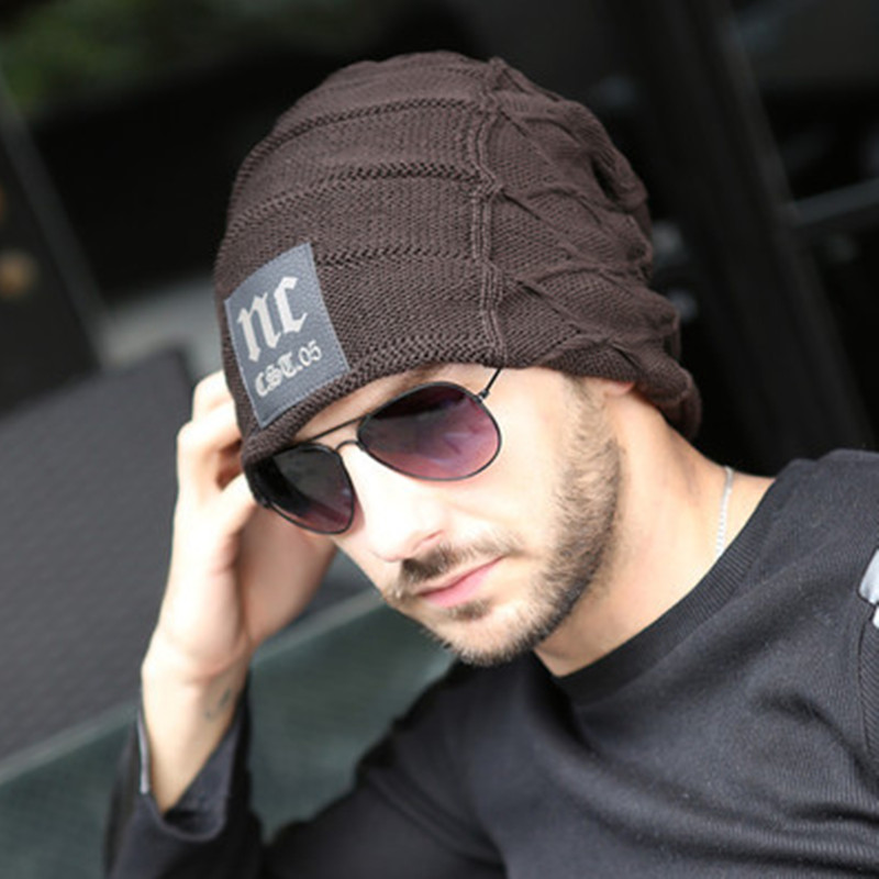 8732cbcc321a Fashion Winter Hats For Men 2015 Warm Knitted Wool Hat Trendy Outdoor Cap  Letter NC Beanie With Leather Marks 483 Free Shipping-in Skullies   Beanies  from ...