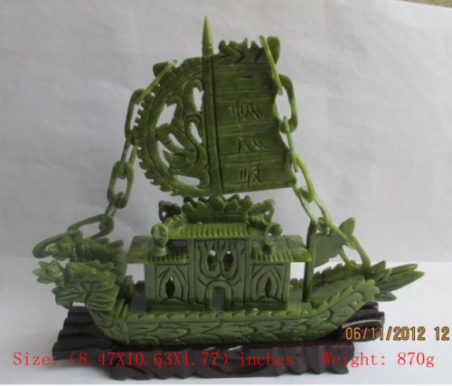 Elaborate Chinese manual sculpture of southern Taiwan jade dragon boatElaborate Chinese manual sculpture of southern Taiwan jade dragon boat