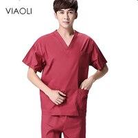 Viaoli 2019 new summer short sleeved surgical gowns men dental beauty oral pet doctor male split suit mens scrub sets