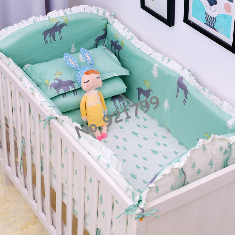 New Design Christmas Deer Baby Bumper Safety Newborn Bed Cot Bumpers Bed  Baby Crib Bumper Protector Toddler Bedding Sets 6PCS promotion 6pcs baby bedding set cot crib bedding set baby bed baby cot sets include 4bumpers sheet pillow