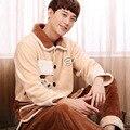 Mens Pijama Apressado Pijama Real Homme Pijama 2016 Coreano Bordado Dos Desenhos Animados Do Sexo Feminino Bonito Casal de Inverno de Espessura Coral de Veludo Terno