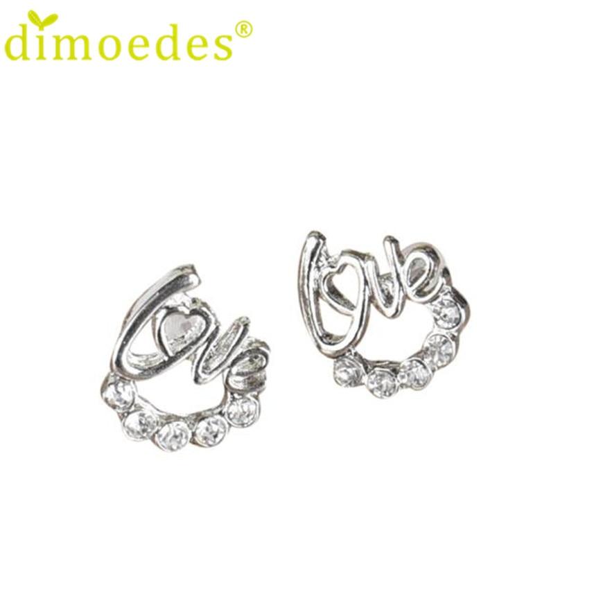 Diomedes Newest Earrings 1 Pair Women Lady Elegant Crystal Rhinestone Ear Stud Earrings New Charm Stud Earrings Gift #0114 two tone crystal stud earrings