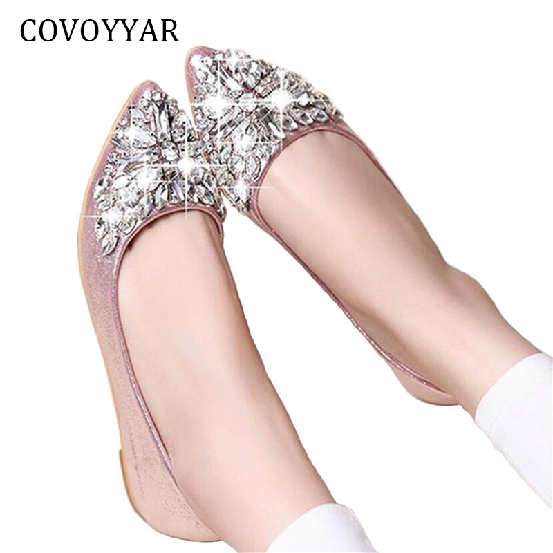 2018 New Artificial Rhinestone Women Shoes Shallow Mouth Flats Pointed Toe Casual Shoes Fashion Comfort Loafers Slip On WFS15 xiaying smile flats shoes women boat shoes spring summer office casual loafers slip on pointed toe shallow rubber women shoes