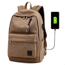 Women Man's Backpack Vintage Brown Unisex Canvas Rucksack Casual Male Leisure College Laptop School Bag with USB Charging Port стоимость