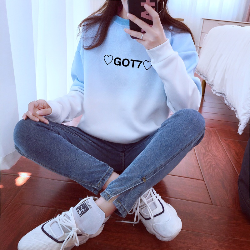 Kpop Got7 Hearts Hoodies Women Ulzzang Gradient Letters Crew Neck Sweatshirt Got 7 Fans Fashion Tracksuit Jumper Dropshipping