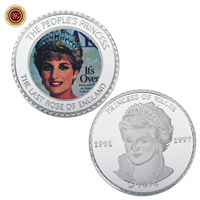 WR Customized 1 oz 999 24k Silver Plated Foil Coin Commemorative Diana Challenge Coin Metal Art Crafts for Collection