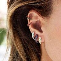GODK New Elegant Snake Curled Up Design Full Mirco Cubic Zirconia Wedding Women Earring Fashion Jewelry