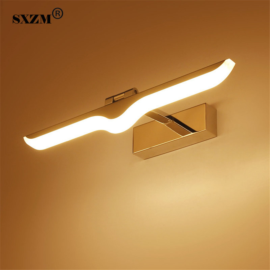 SXZM 9W 12W LED mirror light AC85-265V waterproof Acrylic+Aluminum SMD2835 high quality for bathroom led lighting wall mounted 40cm 12w acryl aluminum led wall lamp mirror light for bathroom aisle living room waterproof anti fog mirror lamps 2131