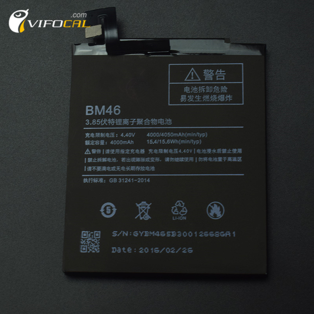 For Xiaomi Redmi Note 3 Battery BM46 4000mAh 100% new Replacement Battery For Redmi Note 3 Prime Pro Mobile Phone - In Stock